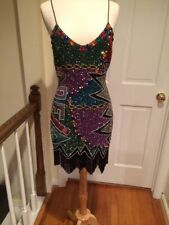 NAEEM KHAN Beaded Sequined Fringed Cocktail Dress Small