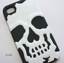 iPHONE 4 4G 4S - HARD&SOFT RUBBER DUAL LAYER ARMOR IMPACT CASE BLACK WHITE SKULL