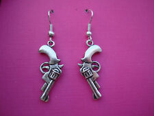FUNKY PISTOL REVOLVER GUN EARRINGS GANGSTER WESTERN COOL COWBOY FUN FANCY DRESS