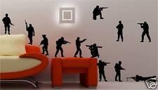 12 x armée soldats Art mural autocollant vinyle chambre d'enfant