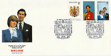 BELIZE 16 July 1981 ROYAL WEDDING IMPERFORATE SET SMALL FORMAT FIRST DAY COVER