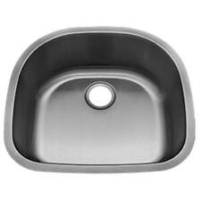 """Undermount Stainless Steel """"D"""" Shape Kitchen Sink with Grid and Strainer"""