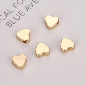70 Pcs Golden Peach Heart-Shaped Spacer Beads Loose Bead DIY Necklace Bracelet
