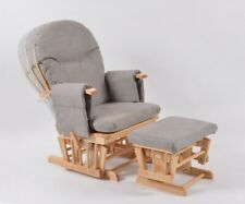 Habebe Recliner Rocking Glider Chair + Stool + Brake & Washable Covers - GREY