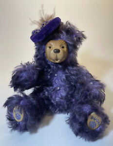 """Signed Bedazzled Purple Black Mohair Teddy Bear Hat 6.5"""" Raikes Wooden Face"""