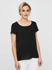 Vero Moda FEMININE SHORT SLEEVED TOP t-shirt Size XS Black Slightly see-through