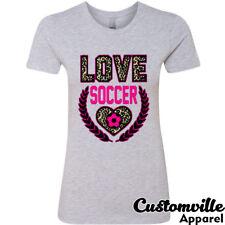 Love Soccer Women's T-shirt. Soccer Girl soccer Mom Practice cute pink leopard