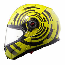 LS2 FF386 ABYSS Modular Flip Up Front Motorbike Helmet Hi Vis Yellow Black Large