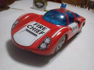 Joustra (France) Red/White Porsche 906 Carrera Fire-Chief Tinplate/Electric 1:16