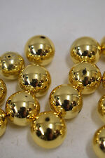 Beads Bright Gold Plated Round Beads Vintage 20 Gold Beads