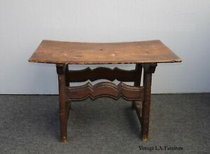 Vintage French Country Rustic Primitive Farmhouse Curved Seat Bench Stool