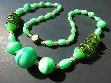 "Made in Czechoslovakia antique Green satin marbled glass unique necklace 16""  rt"