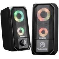 USB Gaming Speakers Desktop Computer Laptop Plug & Play Stereo 6W RGB LED Black