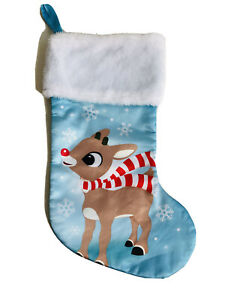 16 In rudolph the red nosed reindeer Blue Christmas Stocking