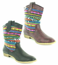 Mid-Calf Pull On Synthetic Boots for Women