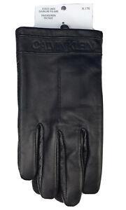 Calvin Klein Men's Black Touchscreen Genuine Leather Fleece Lined Gloves Size XL