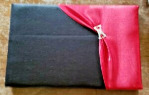 BLACK AND RED CLOTH COVERED WEDDING GUEST BOOK- NEVER USED-NIP
