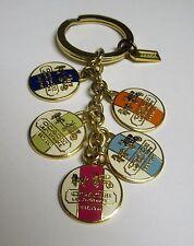 Coach Heritage Stripe Logo Disks Key fob Keychain 92305 Enamel Brass