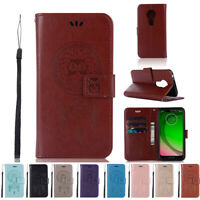 Flip Wallet Leather Card Case Protective Cover Stand for Motorola Moto G7 Play