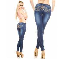 Women's Stylish Rhinestone embroidered blue Skinny jeans. Sizes UK  8 10 12