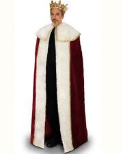 Rhinestone Men Gold Crown King Faux Fur Cloak Medieval Halloween Theater Costume