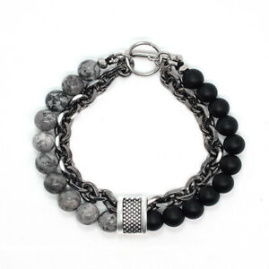 Tiger Eye Agate Beads and Black Lava Rock Relaxed Healing Bracelet Lucky Men