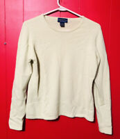 Charter Club 2 Ply 100% Cashmere Sweater Sz M Long Sleeve Yellow