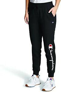 Women's Champion Powerblend Graphic Logo Black Jogger Sweatpants Size XL