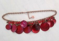 Bohemian style red shell mother of pearl diac bead necklace bronze tone chain
