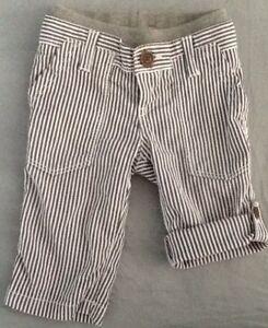 Baby Gap 3-6 Months Boys Striped Blue White Pants Roll Up EUC Cotton Bottoms
