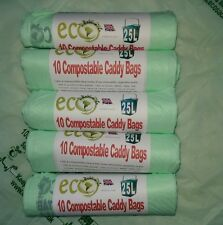 50 X  25L Compostable Biodegradable Kerbside Food Waste Caddy Bin Liner BioBags