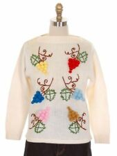 Vintage Ladies Cardigan Sweater 3D Embroidered Flowers 100% Wool Colorful 1960s