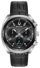 Bulova 98A155 Men's Chronograph Curv Leather Strap Watch 43mm