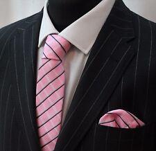 Tie Neck tie with Handkerchief Pink White & Black
