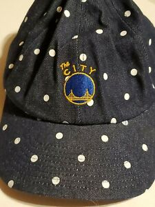 Golden State Warriors Mitchell & Ness Women New Blue& White PolkaDot Hat Cap