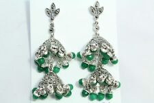 925 sterling silver Jhumki earring India Tribal Jewelry green onyx Stones