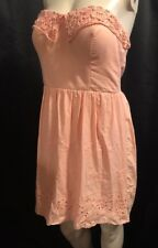 Rue21 Strapless Coral Peach Size 11 Padded Bra Dress with Lace & Embroidery
