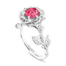 Pink Sapphire Flower Engagement Ring, Unique 1.08 Carat Platinum Certified