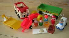 Vintage Lot Fisher Price Little People Toy Playset Figures Bus Farm Accessories