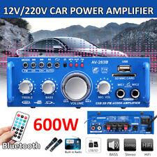 600W 12V 220V HIFI Audio Power Amplifier bluetooth FM Radiio Remote Control Car