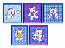 Christmas Teddy Bear Embellishments Card Making Toppers, Craft Crafting x 5
