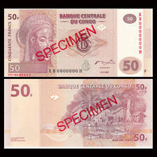 [SPECIMEN] Congo 50 Francs, 2007, P-97S NEW, UNC, Banknotes, Original