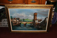 Original Lloyd Garrison Signed Oil Painting-Italy Water Bridge Village Boats