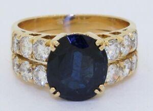 Heavy 18K gold 4.76CTW VS diamond & 9.9 X 8.6mm Oval Blue sapphire cocktail ring