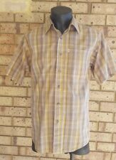 JEEP Men's Shirt size S Casual Short Sleeve Brown with Yellow Stripe 100% Cotton