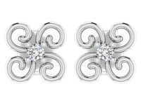 925 Sterling Silver 0.08Cts Certified Diamond Floral Style Stud Earrings Jewelry