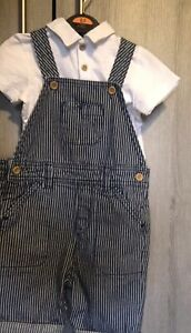 Boys 18-24 Months Outfit Spanish Dungarees Shorts Romper & Shirt Set (2 Tops)