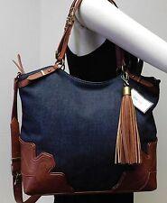 Nine West Blue Denim Dobra Hobo Shoulder Bag Handbag Tote Purse Indigo