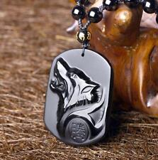 100%Natural Obsidian stone Hand carved Wolf head good luck charm pendant