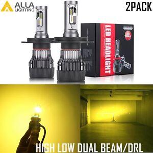 AllaLighting H4 LED hd-light  Bulb Hi lo  Beam/Daytime Running Light Bulb YELLOW